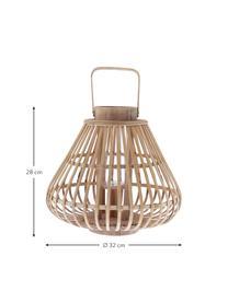 Latarenka Sahara, Rama: bambus Szklana wkładka: transparentny, Ø 39 x W 33 cm