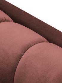 Sofa z aksamitu Mamaia (2-osobowa), Tapicerka: aksamit poliestrowy Dzięk, Stelaż: lite drewno sosnowe, skle, Nogi: metal lakierowany, Blady różowy, S 177 x G 92 cm
