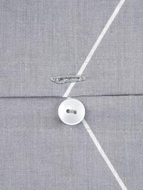 Parure copripiumino in cotone ranforce Lynn, Grigio, bianco crema, 155 x 200 cm