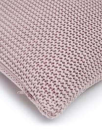 Federa arredo fatta a maglia rosa cipria Adalyn, 100% cotone, Rosa cipria, Larg. 50 x Lung. 50 cm