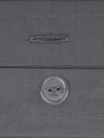 Set lenzuola in percalle grigio scuro Elsie, Grigio scuro, 240 x 300 cm + 2 cuscini 50 x 80 cm