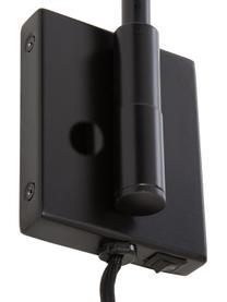 Große Wandleuchte Neron mit Stecker, Lampenschirm: Metall, pulverbeschichtet, Dekor: Metall, vermessingt, Black, 27 x 15 cm