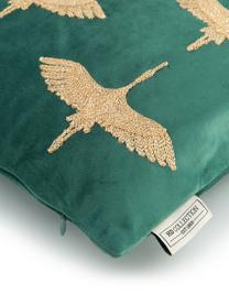 Besticktes Samt-Kissen Crane in Türkisgrün/Gold, mit Inlett, Polyestersamt, Grün, Goldfarben, 45 x 45 cm
