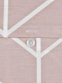 Baumwoll-Bettwäsche Mirja mit grafischem Muster, Webart: Renforcé Fadendichte 144 , Altrosa, Cremeweiß, 135 x 200 cm + 1 Kissen 80 x 80 cm