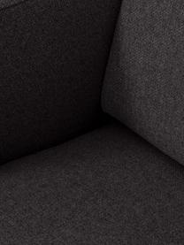 Bank Fluente (3-zits) in donkergrijs met metalen poten, Bekleding: 100% polyester, Frame: massief grenenhout, Poten: gepoedercoat metaal, Geweven stof donkergrijs, B 196 x D 85 cm