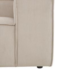 Narożna sofa modułowa ze sztruksu z pufem Lennon (4-osobowa), Tapicerka: sztruks (92% poliester, 8, Stelaż: lite drewno sosnowe, skle, Nogi: tworzywo sztuczne Nogi zn, Sztruksowy beżowy, S 327 x G 207 cm