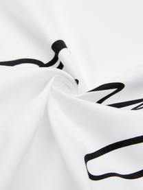 Baumwollperkal-Bettwäsche Writings mit Schriftzug, Webart: Perkal Fadendichte 180 TC, Weiß, Schwarz, 135 x 200 cm + 1 Kissen 80 x 80 cm