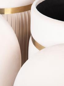 Poef-set Chest met opbergfunctie, 2-delig, Polyester, hout, Crèmekleurig, Verschillende formaten