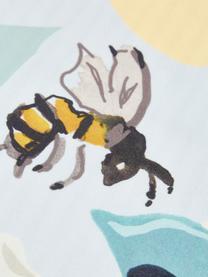 Baumwollsatin-Wendekissenbezüge Garda mit Zitronen und Streifen auf der Rückseite, 2 Stück, Webart: Satin Fadendichte 200 TC,, Blau,Gelb,Weiß, 40 x 80 cm