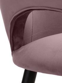 Samt-Armlehnstuhl Rachel, Bezug: Samt (Polyester) Der hoch, Beine: Metall, pulverbeschichtet, Samt Mauve, B 64 x T 47 cm