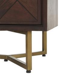 Visgraat-dressoir Luca met deuren van massief hout, Frame: gelakt massief mangohout, Poten: gepoedercoat metaal, Bruin, 90 x 83 cm