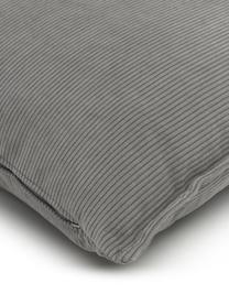 Cuscino arredo in velluto a coste grigio Lennon, Rivestimento: velluto a coste (92% poli, Grigio, Larg. 60 x Lung. 60 cm