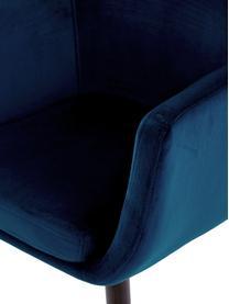 Chaise velours rembourré Nora, Velours bleu foncé, pieds brun foncé