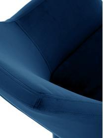 Samt-Polsterstuhl Nora mit Armlehne, Bezug: Polyestersamt 25.000 Sche, Beine: Eichenholz, gebeizt und l, Samt Dunkelblau, Beine Dunkelbraun, B 58 x T 58 cm