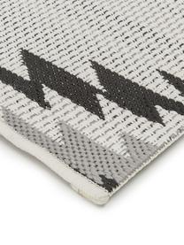 In- & Outdoor-Läufer Ikat mit Ethno Muster, 86% Polypropylen, 14% Polyester, Cremeweiß, Schwarz, Grau, 80 x 250 cm