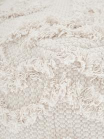 Handgetufteter Boho-Pouf Akesha, Bezug: Baumwolle, Weiß, 45 x 45 cm