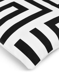 Kissenhülle Bram  in Schwarz/Weiß mit grafischem Muster, 100% Baumwolle, Weiß, Schwarz, 45 x 45 cm