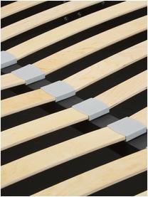 Gestoffeerd bed Cloud met opbergruimte in donkere beige, Frame: massief grenenhout en pla, Bekleding: fijn gestructureerde gewe, Stof taupe, 180 x 200 cm