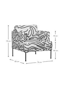 Fotel z metalowymi nogami Fluente, Tapicerka: 100% poliester Tkanina o , Nogi: metal malowany proszkowo, Biały, S 74 x G 85 cm