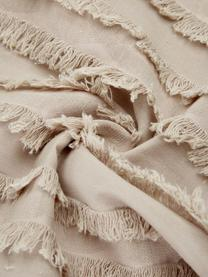 Kussenhoes Jessie in beige met decoratieve franjes, 88% katoen, 7% viscose, 5% linnen, Beige, 45 x 45 cm