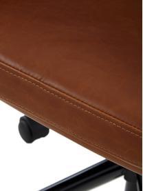 Kunstleder-Bürodrehstuhl Nora, höhenverstellbar, Bezug: Kunstleder (Polyurethan), Beine: Metall, pulverbeschichtet, Rollen: Kunststoff, Cognac, B 58 x T 58 cm