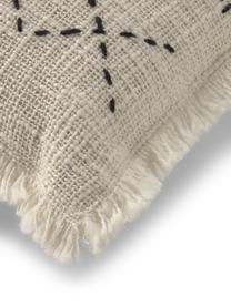Federa arredo boho con frange Seila, 100% cotone, Beige, Larg. 45 x Lung. 45 cm