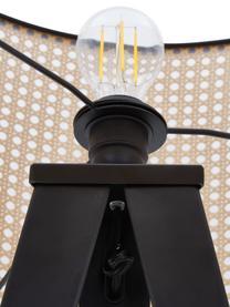 Driepoot vloerlamp Vienna van Weens vlechtwerk, Lampenkap: kunststof, Lampvoet: gepoedercoat metaal, Lampenkap: beige, zwart. Lampvoet: mat zwart. Snoer: zwart, Ø 50 x H 154 cm