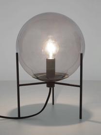 Kleine Tischlampe Alton aus Glas, Lampenschirm: Glas, Schwarz, Grau, transparent, Ø 20 x H 29 cm