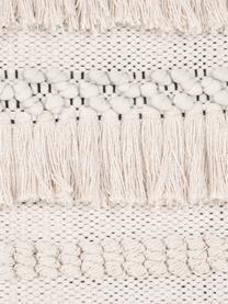 Boho Kissenhülle Kele in Ecru, 100% Baumwolle, Ecru, Schwarz, 40 x 40 cm