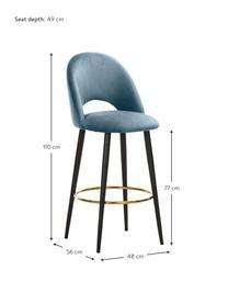 Krzesło barowe z aksamitu Rachel, Tapicerka: aksamit (wysokiej jakości, Nogi: metal malowany proszkowo, Aksamitny jasny niebieski, S 48 x W 110 cm