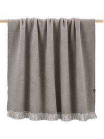 Koc z bawełny z frędzlami Vienna, 85% bawełna, 8% wiskoza, 7% poliakryl, Brązowy, S 150 x D 200 cm