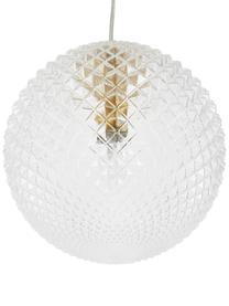 Kleine Pendelleuchte Lorna aus Glas, Lampenschirm: Glas, Dekor: Metall, galvanisiert, Baldachin: Metall, galvanisiert, Transparent, Ø 25 cm