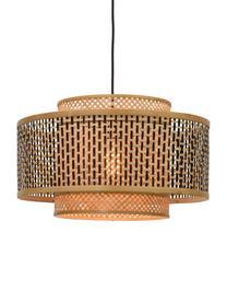 Lampada a sospensione in bambù Bhutan, Paralume: bambù, Baldacchino: metallo rivestito, Beige, nero, Ø 50 x Alt. 30 cm