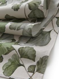 Baumwoll-Tischläufer Gigi mit Ginkgo-Blättermotiven, 100% Baumwolle, Beige, Grün, 40 x 140 cm