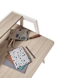 Scrivania in legno di quercia Alanna, Piano d'appoggio: pannello di fibra a media, Struttura: metallo verniciato, Legno di quercia, bianco, Larg. 115 x Prof. 60 cm