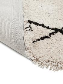 Flauschiger Hochflor-Teppich Naima mit Fransen, handgetuftet, Flor: Polyester, Beige, Schwarz, B 200 x L 300 cm (Größe L)