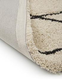 Zacht hoogpolig vloerkleed Naima met franjes, handgetuft, Bovenzijde: 100% polyester, Onderzijde: 100% katoen, Beige, zwart, B 200 x L 300 cm (maat L)