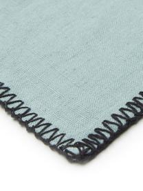 Leinen-Tischdecke Letia mit farblich abgesetzter Naht, Leinen, Blaugrün, Schwarz, Für 6 - 8 Personen (B 170 x L 250 cm)