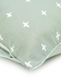 Dwustronna pościel z bawełny Odd Twins, Jadeitowy, biały, 135 x 200 cm + 1 poduszka 80 x 80 cm