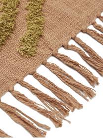 Baumwolldecke Fringe mit getufteter Verzierung, 100% Baumwolle, Braun, 130 x 170 cm