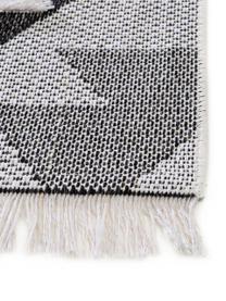 Waschbarer Ethno Baumwollteppich Oslo Aztec mit Hoch-Tief-Muster, 100% Baumwolle, Cremeweiß, Grautöne, B 150 x L 230 cm (Größe M)