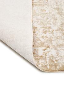 Schimmernder Teppich Cordoba in Beigetönen mit Fransen, Vintage Style, Flor: 70% Acryl, 30% Viskose, Beigetöne, B 130 x L 190 cm (Größe S)