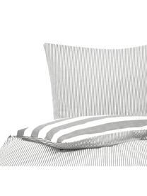 Flanell-Wendebettwäsche Dora, gestreift, Webart: Flanell Flanell ist ein s, Weiß, Grau, 135 x 200 cm + 1 Kissen 80 x 80 cm