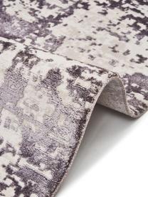 Tappeto vintage con frange effetto lucido Cordoba, Retro: 100% cotone, Tonalità grigie con le sfumature viola, Larg. 130 x Lung. 190 cm (taglia s)