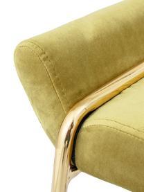Samt-Hocker Megan in Grün, Bezug: Polyestersamt 40.000 Sche, Gestell: Metall, lackiert, Grün, Messingfarben, 60 x 50 cm
