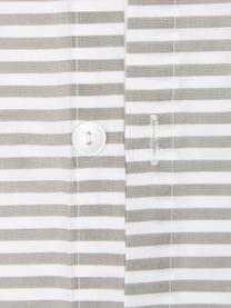 Gestreifte Perkal-Wendebettwäsche Kinsley aus gewaschener Bio-Baumwolle, Webart: Perkal Fadendichte 180 TC, Beige, Weiß, 240 x 220 cm + 2 Kissen 80 x 80 cm