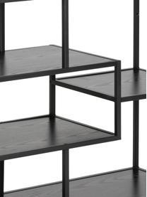 Wandrek Seaford Zig van hout en metaal, Frame: gepoedercoat metaal, Zwart, 114 x 78 cm