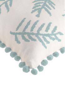 Kissenhülle Jungle mit Blätter-Motiv und Pompoms, 100% Baumwolle, Weiß, Blau, 30 x 50 cm