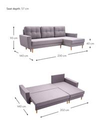 Sofa narożna z funkcją spania i miejscem do przechowywania Neo (4-osobowa), Tapicerka: 100% poliester, Jasny szary, S 230 x G 140 cm