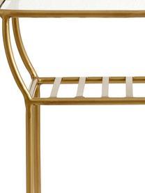 Stolik pomocniczy ze szklanym blatem Maeve, Blat: szkło, Stelaż: metal lakierowany, Odcienie mosiądzu, S 50 x W 45 cm